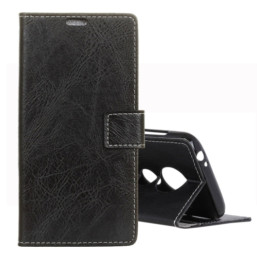 Retro Crazy Horse Texture Horizontal Flip Leather Case for Motorola Moto G7 Play, with Holder & Card Slots & Photo Frame (Black)