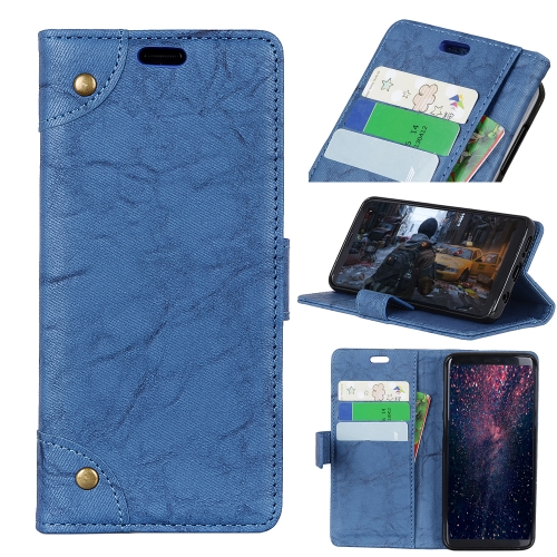 Copper Buckle Retro Crazy Horse Texture Horizontal Flip Leather Case for Motorola Moto G7 Power, with Holder & Card Slots & Wallet (Blue)