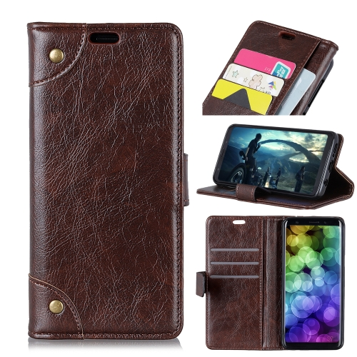 Copper Buckle Nappa Texture Horizontal Flip Leather Case for Motorola Moto G7 Power, with Holder & Card Slots & Wallet (Coffee)