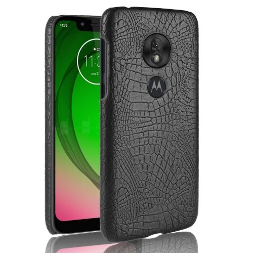 Shockproof Crocodile Texture PC + PU Case for Motorola Moto G7 Play (Black)