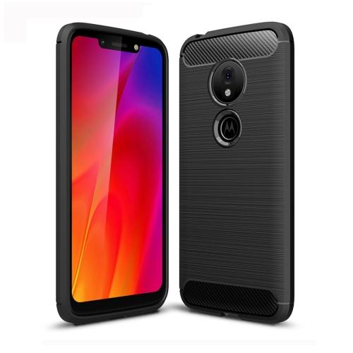 Brushed Texture Carbon Fiber TPU Case for Motorola Moto G7 Play (Black)