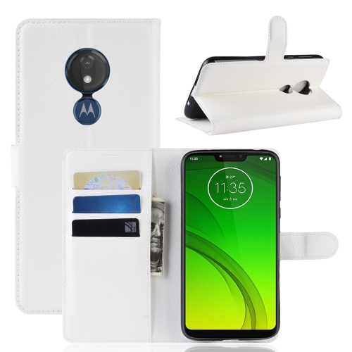 Litchi Texture Horizontal Flip Leather Case for MOTO G7 Power, with Wallet & Holder & Card Slots (White)