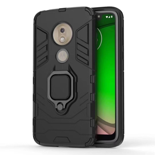 PC + TPU Shockproof Protective Case for Motorola Moto G7 Play, with Magnetic Ring Holder (Black)