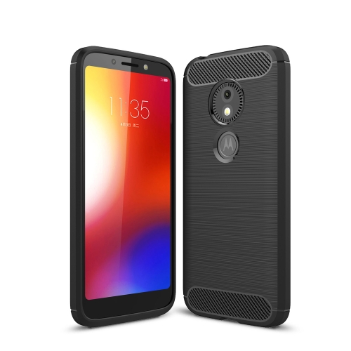 Brushed Texture Carbon Fiber Soft TPU Case for Motorola Moto E5 Play Go(Black)
