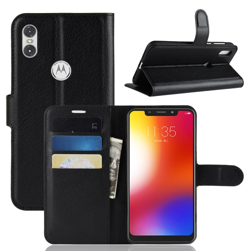 Litchi Texture Horizontal Flip Leather Case for Motorola One (P30 Play), with Holder & Card Slots & Wallet(Black)