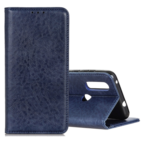 Magnetic Crazy Horse Texture Horizontal Flip Leather Case for Motorola Moto P40 Power / One Action, with Holder & Card Slots & Wallet(Blue)