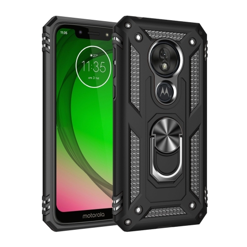 Armor Shockproof TPU + PC Protective Case for Motorola Moto G7 Play, with 360 Degree Rotation Holder (Black)