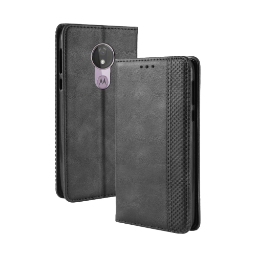 Magnetic Buckle Retro Texture Horizontal Flip Leather Case for Motorola Moto G7 Power (EU Version), with Holder & Card Slots & Wallet (Black)