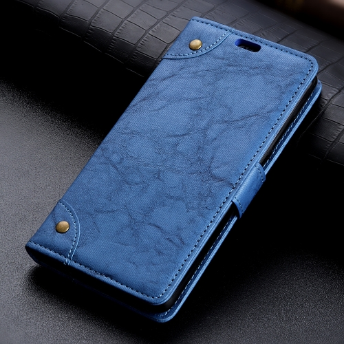 Copper Buckle Retro Crazy Horse Texture Horizontal Flip Leather Case for Motorola Moto G7 / G7+, with Holder & Card Slots & Wallet (Blue)