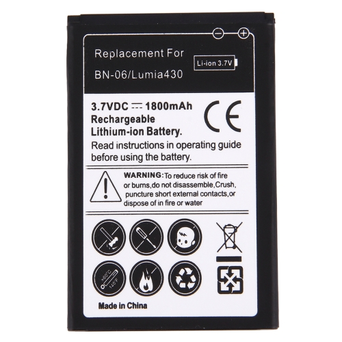 Buy For Microsoft Lumia 430 / BN-06 1800mAh Rechargeable Li-ion Battery for $2.54 in SUNSKY store