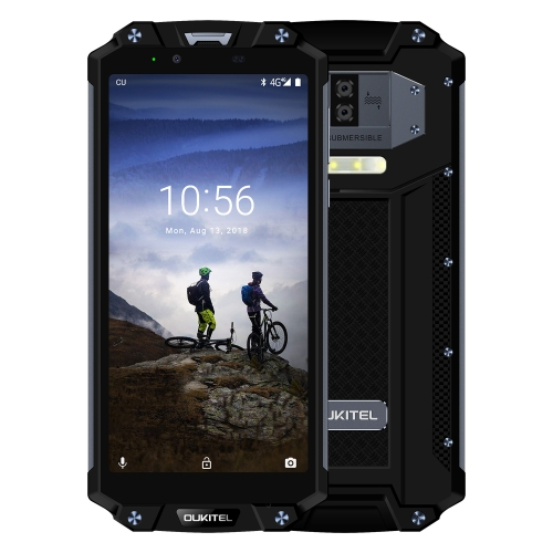 [HK Stock] OUKITEL WP2 Rugged Phone, 4GB+64GB, IP68 Waterproof Shockproof Dustproof, Dual Back Cameras, Side-mounted Fingerprint Identification, 10000mAh Battery, 6.0 inch Android 8.0 MTK6750T Octa Core up to 1.5GHz, Network: 4G, NFC, OTG(Black)