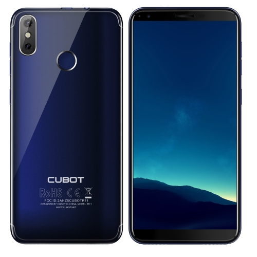 [HK Stock] CUBOT R11, 2GB+16GB, Dual Back Cameras, Fingerprint Identification,  5.5 inch Android 8.1 MTK6580 Quad Core up to 1.3GHz, Network: 3G, Dual SIM(Blue)