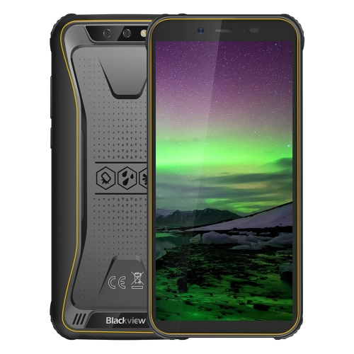 [HK Stock] Blackview BV5500 Rugged Phone, 2GB+16GB, IP68 Waterproof Dustproof Shockproof, Dual Back Cameras, 4400mAh Battery, 5.5 inch Android 8.1 MTK6580P Quad Core up to 1.3GHz, Network: 3G, OTG, Dual SIM, EU Version(Yellow)
