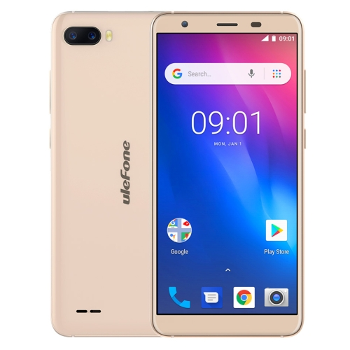 [HK Stock] Ulefone S1, 1GB+8GB, Dual Back Cameras, Face Identification, 5.5 inch Android GO 8.1 MTK6580 Quad-core 64-bit up to 1.3GHz, Network: 3G, Dual SIM(Gold)