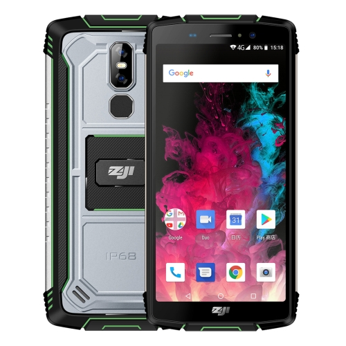 [HK Stock] HOMTOM ZOJI Z11 Rugged Phone, 4GB+64GB, IP68 Waterproof Dustproof Shockproof, Dual Back Cameras, 10000mAh Battery, Face ID & Fingerprint Unlock, 5.99 inch Android 8.1 MTK6750T Octa Core up to 1.5GHz, Network: 4G, OTG, Dual SIM (Green)