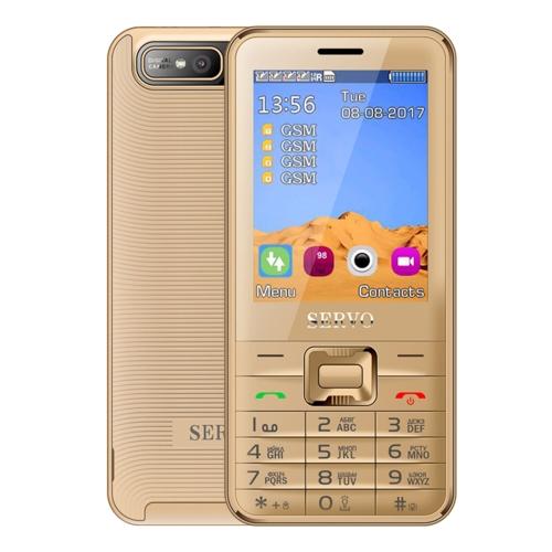 SERVO V8100 Card Mobile Phone, 2.8 inch, SC6531CA, 21 Keys, Support Bluetooth, FM, MP3, GSM, Russian Keyboard(Gold)