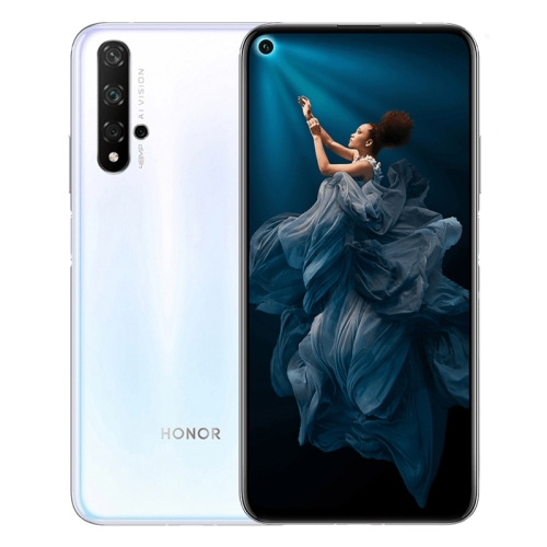 Huawei Honor 20, 48MP Camera, 8GB+256GB, China Version, Quad Back Cameras, Fingerprint Identification, 6.26 inch Magic UI 2.1.0 (Android 9.0) HUAWEI Kirin 980 Octa Core up to 2.6GHz, Network: 4G, NFC, Not Support Google Play (White)