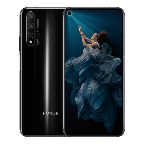 Huawei Honor 20, 48MP Camera, 8GB+128GB, China Version, Quad Back Cameras, Fingerprint Identification, 6.26 inch Magic UI 2.1.0 (Android 9.0) HUAWEI Kirin 980 Octa Core up to 2.6GHz, Network: 4G, NFC, Not Support Google Play(Black)