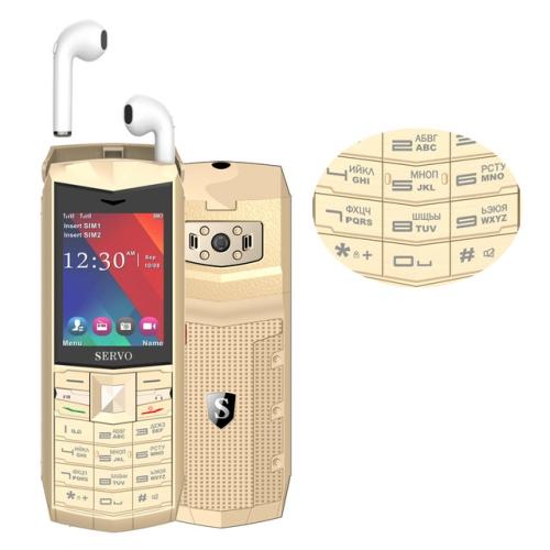 SERVO R26 TWS Bluetooth Mobile Phone, Russian Keyboard, 3000mAh Battery, 2.4 inch, 23 Keys, Support Bluetooth, FM, Flashlight, MP3 / MP4, GSM, Dual SIM, with TWS Bluetooth Headsets(Gold) фото