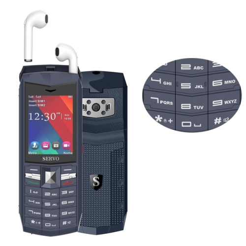 SERVO R26 TWS Bluetooth Mobile Phone, English Keyboard, 3000mAh Battery, 2.4 inch, 23 Keys, Support Bluetooth, FM, Flashlight, MP3 / MP4, GSM, Dual SIM, with TWS Bluetooth Headsets(Grey)