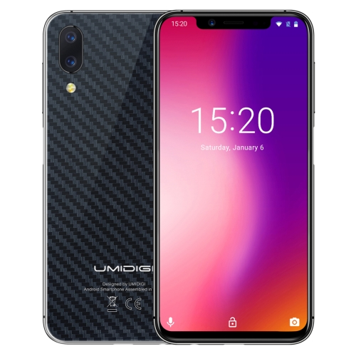[HK Stock] UMIDIGI One, 4GB+32GB, Global Band Dual 4G, Dual Back Cameras, Face ID & Side Fingerprint Identification,  5.9 inch Android 8.1 MTK Helio P23 Octa Core up to 2.0GHz, Network: 4G, VoLTE, Dual SIM(Carbon Fiber Black)
