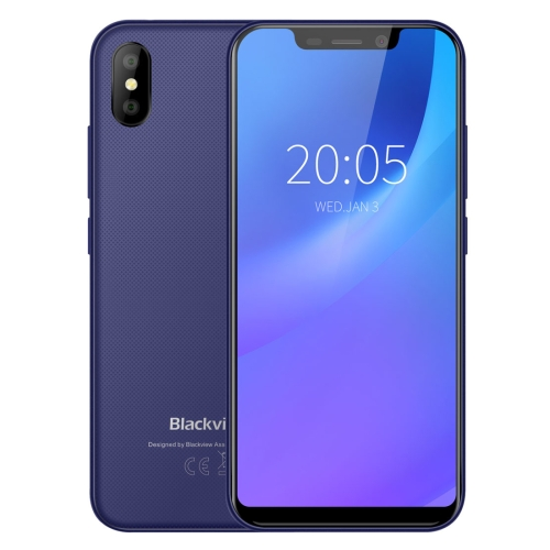 [HK Stock] Blackview A30, 2GB+16GB, Face ID Unlock, 5.5 inch Android 8.1 MTK6580A Quad Core up to 1.3GHz, Network: 3G, Dual SIM(Blue)