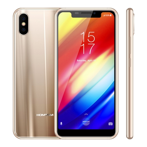[HK Stock] HOMTOM H10, Dual 4G, 4GB+64GB, Dual Back Cameras, Face ID & Side-Mounted Fingerprint Identification, 5.85 inch Android 8.1 MTK6750T Octa Core up to 1.5GHz, Network: 4G, Dual SIM, OTG, OTA(Gold)