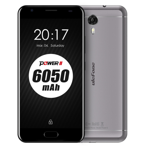 [HK Stock] Ulefone Power 2, 4GB+64GB, 6050mah Big Battery, Front Fingerprint Scanner, 5.5 inch Android 7.0 MTK6750T Octa-core up to 1.5GHz, Network: 4G, OTG, Dual SIM (Grey) ulefone power 2 5 5 inch 4gb 64gb smartphone gold