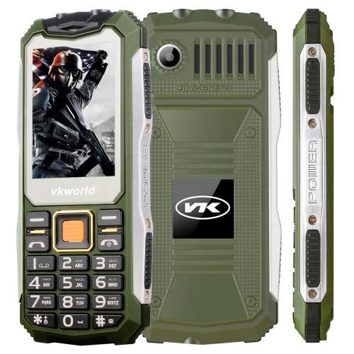 VKworld Stone V3S Quadruple Phone, Anti-Low Temperature Daily Waterproof Shockproof Dustproof, 2.4 inch, 21 Keys, Dual LED Light, FM , BT, Dual SIM, Network: 2G, Russian Keyboard(Green)