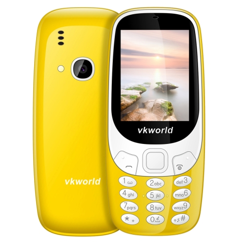 VKworld Z3310 Feature Phone, 2.4 inch 3D Screen, 1450mAh Battery, Class K Amplifier, Dual SIM, FM, Torch, Bluetooth(Yellow) 0 96 inch yellow blue dual color oled display 12864 lcd screen module spi iic 3 3 5v interface