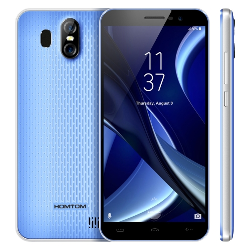 [HK Stock] HOMTOM S16, 2GB+16GB, Dual Back Cameras, Fingerprint Identification, 5.5 inch Android 7.0 MTK6580 Quad Core up to 1.3GHz, Network: 3G, Dual SIM, OTA(Blue)