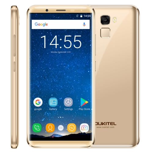 [HK Stock] OUKITEL K5000, 4GB+64GB, 21.0MP Front Camera, 5000mAh Battery, Fingerprint Identification, 5.7 inch 2.5D Android 7.0 MTK6750T Octa Core up to 1.5GHz, Network: 4G, Dual SIM, OTG(Gold)