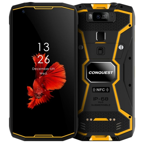 Conquest S12 Pro Rugged Phone, 6GB+128GB, Walkie Talkie Function, 8000mAh Battery, IP68 Waterproof Dustproof Shockproof, Face ID & Fingerprint Identification, 5.99 inch Android 9.0 Helio P70 Octa Core up to 2.5GHz, Network: 4G, NFC, OTG, PTT, POC(Yellow)