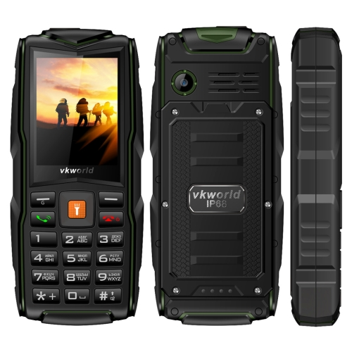 VKworld New Stone V3, Triple SIM, IP68 Waterproof Shockproof Dustproof,  3000mAh Large Capacity, 2.4 inch, SC6531CA Chipset, 21 Keys, LED Flashlight, FM, TF,  Russian Keyboard(Green)