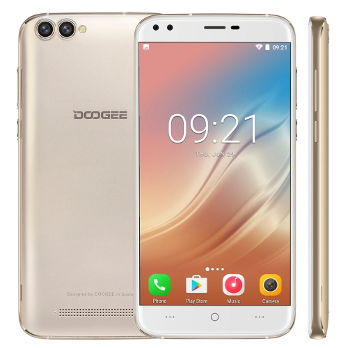 DOOGEE X30,  2GB+16GB, Dual Back Cameras + Dual Front Cameras, 5.5 inch 2.5D Android 7.0 MTK6580 Quad Core up to 1.3GHz, Network: 3G,  WiFi,  OTA, GPS, Dual SIM(Gold)