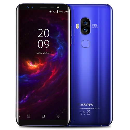 [HK Stock] Blackview S8, 4GB+64GB, Dual Back Cameras + Dual Front Cameras, Fingerprint Identification, 5.7 inch Android 7.0 MTK6750T Octa Core up to 1.5GHz, Network: 4G, Dual SIM, OTG(Blue)