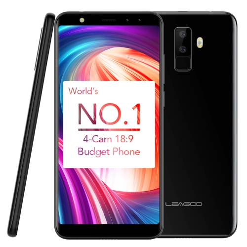 [HK Stock] LEAGOO M9, 2GB+16GB, Dual Back Cameras + Dual Front Cameras, Fingerprint Identification, 5.5 inch LEAGOO OS 3.0 (Android 7.0) MTK6580A Quad Core up to 1.3GHz, Network: 3G, Dual SIM(Black) leagoo m9 3g phablet