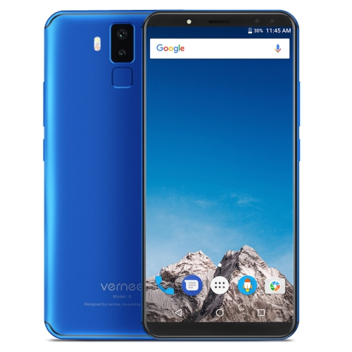 [HK Stock] Vernee X1, 6GB+64GB, Dual Back Cameras + Dual Front Cameras, 6200mAh Battery, Face & Fingerprint Identification, 6.0 inch Android 7.1 MTK6763 Octa Core up to 2.0GHz, Network: 4G, OTG(Blue)