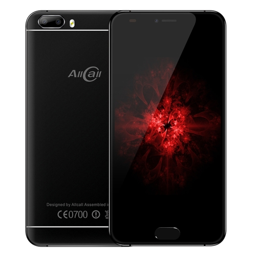 AllCall Bro, 1GB+16GB, Dual Back Cameras, Front Fingerprint Identification, 5.0 inch Android 7.0 MTK6580A Quad Core up to 1.3GHz, Network: 3G, Dual SIM(Black)