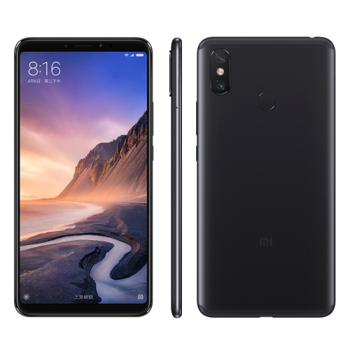 [HK Stock] Xiaomi Mi Max 3, 4GB+64GB, Global Official Version, Dual AI Rear Cameras, Face ID & Fingerprint Identification, 5500mAh Battery, 6.9 inch MIUI 9.0 Qualcomm Snapdragon 636 Octa Core up to 1.8GHz, Network: 4G, VoLTE, Dual SIM(Black)