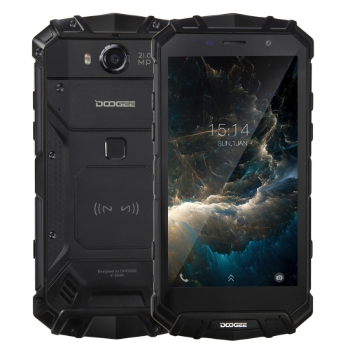 [HK Stock] DOOGEE S60 Triple Proofing Phone, 6GB+64GB, IP68 Waterproof Dustproof Shockproof, 5580mAh Battery, Fingerprint Identification, 5.2 inch Android 7.0 MTK Helio P25 Octa Core up to 2.5GHz, Network: 4G, NFC, OTA, QI Wireless Charge(Black)