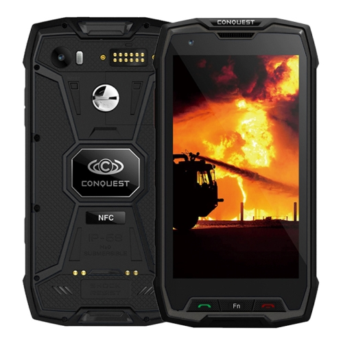 Conquest S9, 6GB+64GB, Not Support Google Play, Walkie Talkie Function, 6000mAh Battery, IP68 Waterproof Dustproof Shockproof Explosionproof, Fingerprint Identification, 5.5 inch Android 7.1 MTK6757 Octa Core up to 2.36GHz, Network: 4G, NFC, External RFID