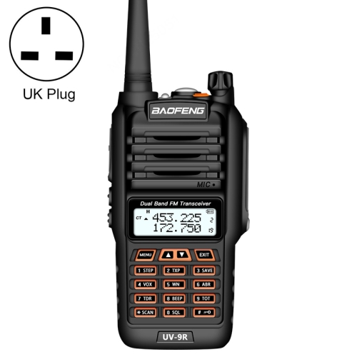 BaoFeng BF-UV9R 5W Waterproof Dual Band Radio Handheld Antenna Walkie Talkie, UK Plug