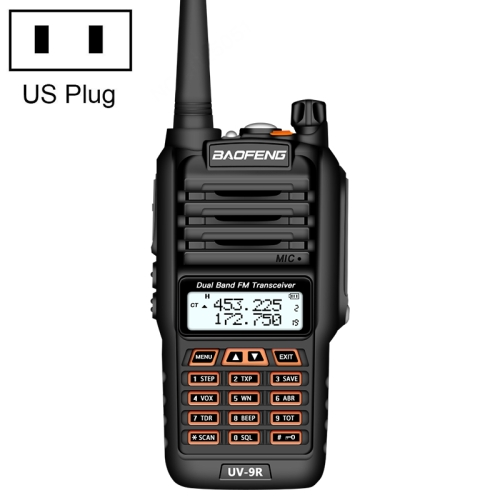 BaoFeng BF-UV9R 5W Waterproof Dual Band Radio Handheld Antenna Walkie Talkie, US Plug
