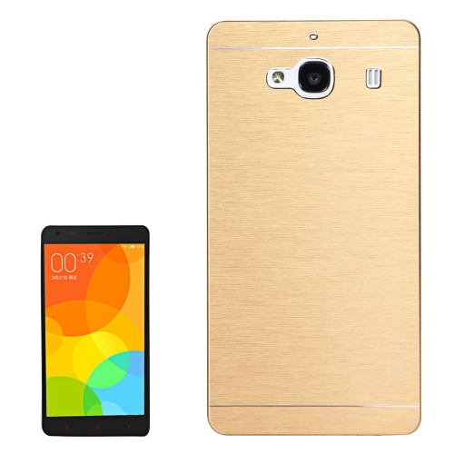 Buy Xiaomi Redmi 2 Motomo Brushed Texture Metal Protective Back Case, Gold for $1.27 in SUNSKY store