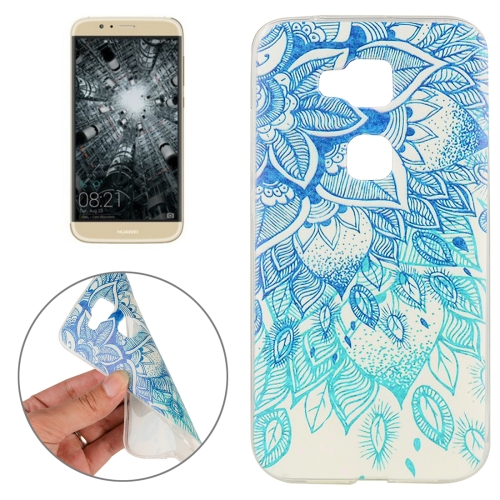 Huawei G8 Blue Leaves Pattern TPU Protective Case