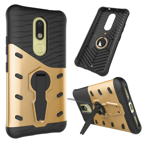 Buy For Motorola Moto M Shock-Resistant 360 Degree Spin Sniper Hybrid Case TPU + PC Combination Case with Holder, Gold for $2.34 in SUNSKY store