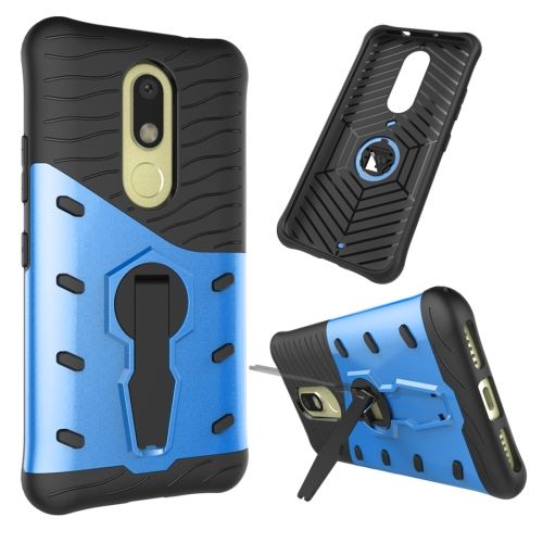 Buy For Motorola Moto M Shock-Resistant 360 Degree Spin Sniper Hybrid Case TPU + PC Combination Case with Holder, Blue for $2.46 in SUNSKY store
