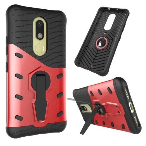 Buy For Motorola Moto M Shock-Resistant 360 Degree Spin Sniper Hybrid Case TPU + PC Combination Case with Holder, Red for $2.46 in SUNSKY store