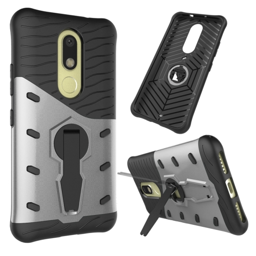 Buy For Motorola Moto M Shock-Resistant 360 Degree Spin Sniper Hybrid Case TPU + PC Combination Case with Holder, Silver for $2.34 in SUNSKY store